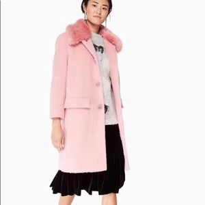 NEW Kate Spade Faux Fur Trim Coat